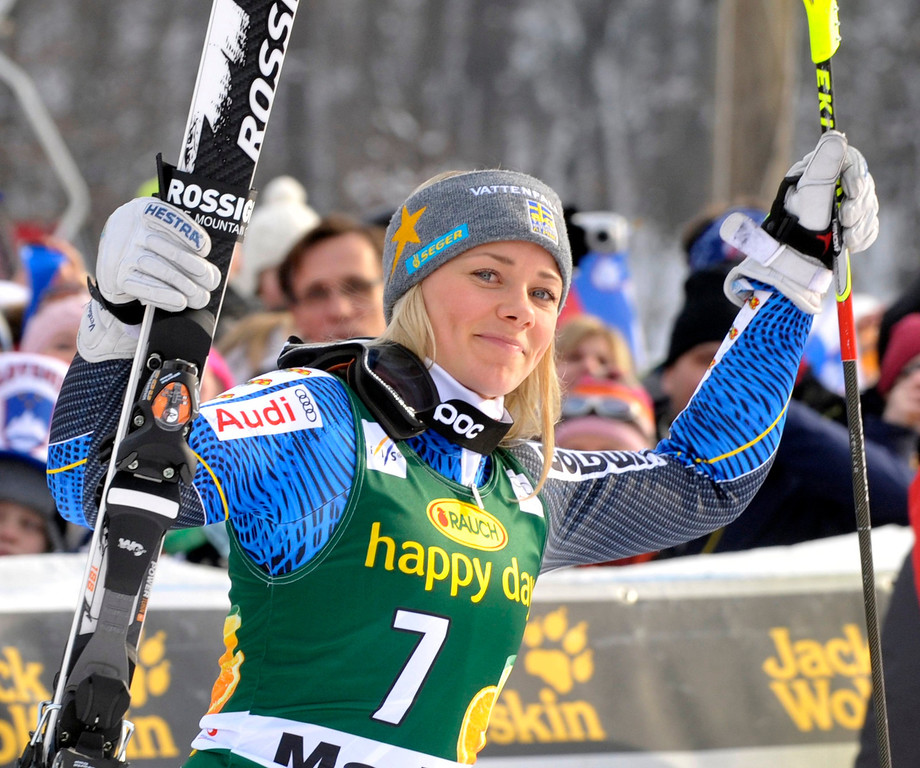 . Frida Hansdotter of Sweden celebrates after finishing second at the World Cup Women\'s Slalom race in Maribor January 27, 2013. REUTERS/Srdjan Zivulovic