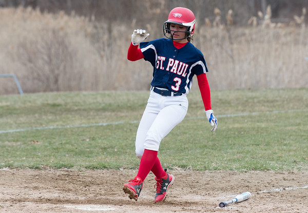 04/02/19 Wesley Bunnell | Staff St. Paul softball defeated Ansonia at home on Tuesday afternoon. McKenzie Gauthier (3)