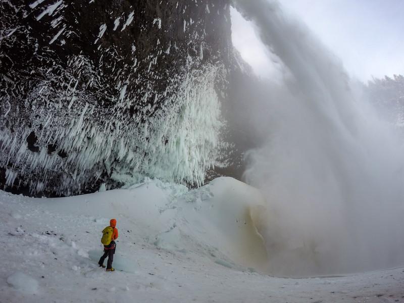 Klemen Premrl getting into Helmcken Falls, Wells Gray Provincial Park, BC, Canada. February 2016