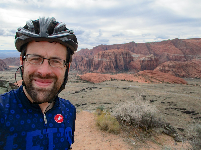 Selfie with Snow Canyon in the background.