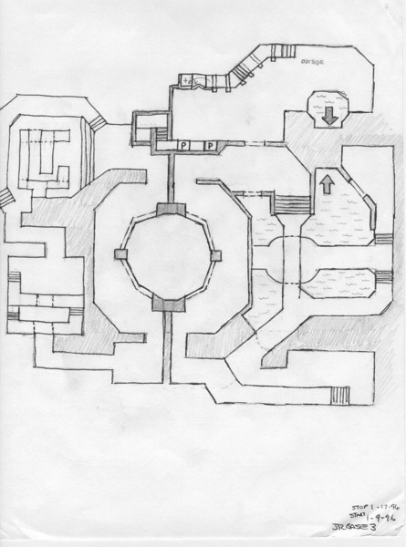 My original sketch of DM3: The Abandoned Base. Several aspects changed as I built and iterated the design as I played it, but most of it is similar.