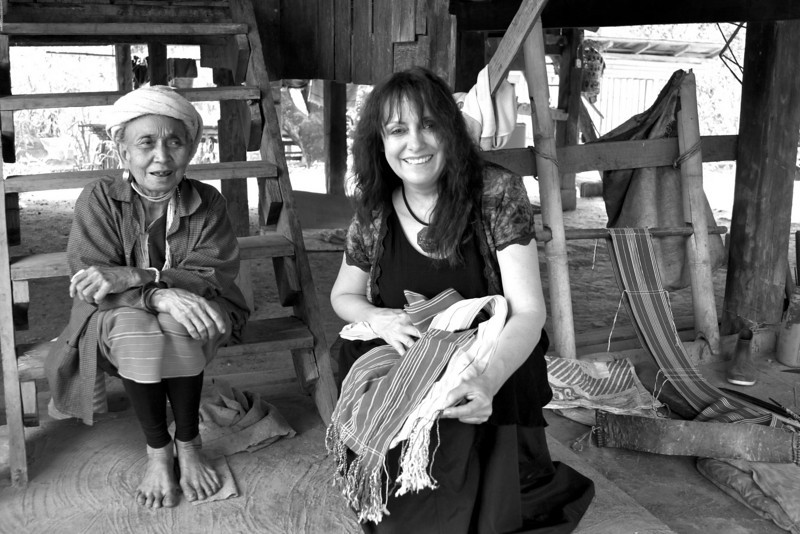 We were so fortunate to have Sgt Kai as our guide.  He talked one of the villagers into letting us in their home  . One of the elder women I bought a loomed garment from