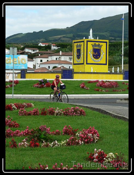 This picture really captures the Azores. Beautiful flowers framed by steep hills