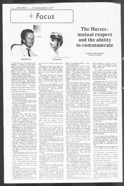 Daily Trojan, Vol. 62, No. 21, October 21, 1970