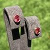 .79ctw Oval Padparadscha Sapphire Bezel Stud Earrings 2