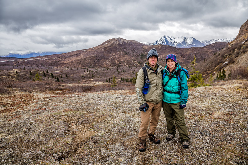 Lina and David Stock Heli-hiking in Denali State Park