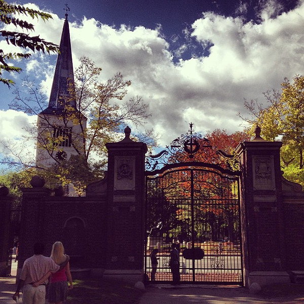 """Liked this image at the gates of Harvard Yard, only later noticed the couple nicely positioned. So apt for a beautiful day, after we met some friends to catch up in a couple of the """"Luxembourg Chairs"""" spread across the plaza."""