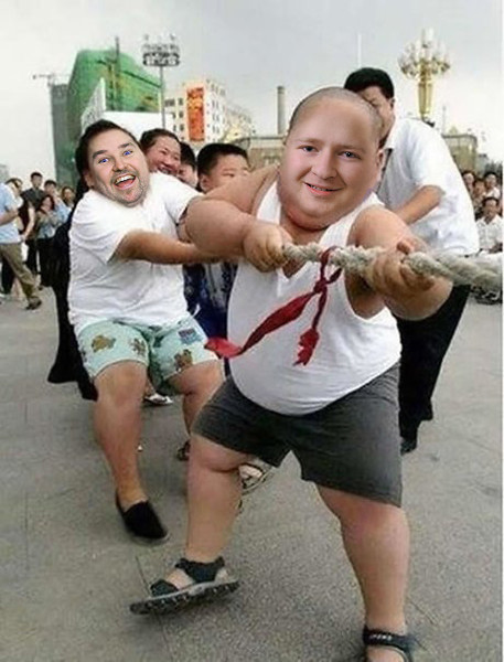 2011/10/27 – One of the guys in my marketing team sent out a picture at work of two very chunky Chinese kids participating in a tug-of-war. The email suggested I was one of the two chunky kids. I took the photo and put two of our employees faces in the two kids. The front kid with the shaved head has the face of Derek Smith, the person who first sent out the image. The second is Trent Devey from our sales team. Dereks face fit so well on the body, some people didn't realize it was a photoshop image. Always a fun day at work when Derek's jokes backfire on him.