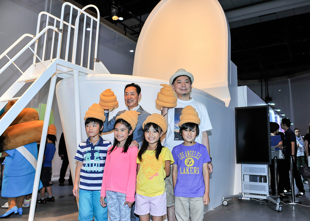 ". TOKYO, JAPAN - JULY 01:  (Back L-R) Japanese astronaut Mamoru Mohri, Executive Director for the Miraikan and speaker Osamu Suzuki pose for group photo during the ""Toilet!? Human Waste and Earth\'s Future\"" exhibition at The National Museum of Emerging Science and Innovation - Miraikan on July 1, 2014 in Tokyo, Japan. The exhibition focuses on how the toilet has changed our daily lives and discovers what the most environment-friendly and ideal toilet is.  (Photo by Keith Tsuji/Getty Images)"