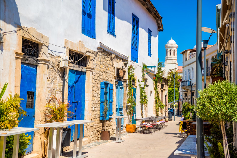 Colorful street in Limassol, Cyprus while cruising on a three continent cruise.