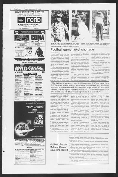 Daily Trojan, Vol. 75, No. 40, November 17, 1978