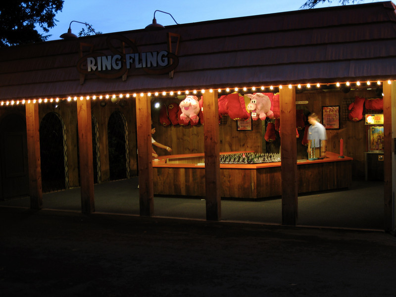 Ring Fling game at night.