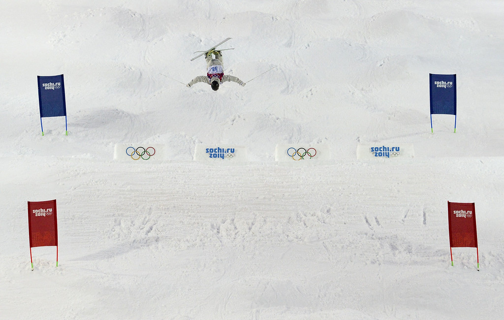 . Australia\'s Sam Hall competes in the Men\'s Freestyle Skiing Moguls qualifications at the Rosa Khutor Extreme Park during the Sochi Winter Olympics on February 10, 2014.         AFP PHOTO / FRANCK FIFE/AFP/Getty Images