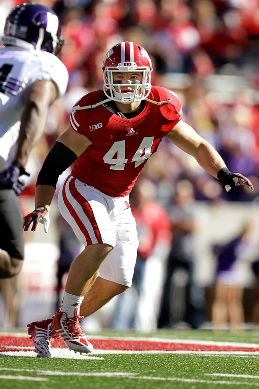 . 10. LB Chris Borland, Wisconsin, 5-11, 248: Trusted college player whose lack of speed might get exposed in NFL. He seeks contact, but it\'s hard to project him as every-down contributor. Would be nice fit, but not at No. 31. (Photo by Mike McGinnis/Getty Images)