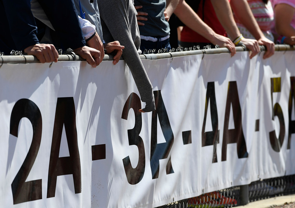 . LAKEWOOD, CO - May 19: Colorado State High School Track and Field fans line the fence outside of the track during the championships at Jeffco Stadium May 19, 2016. (Photo by Andy Cross/The Denver Post)