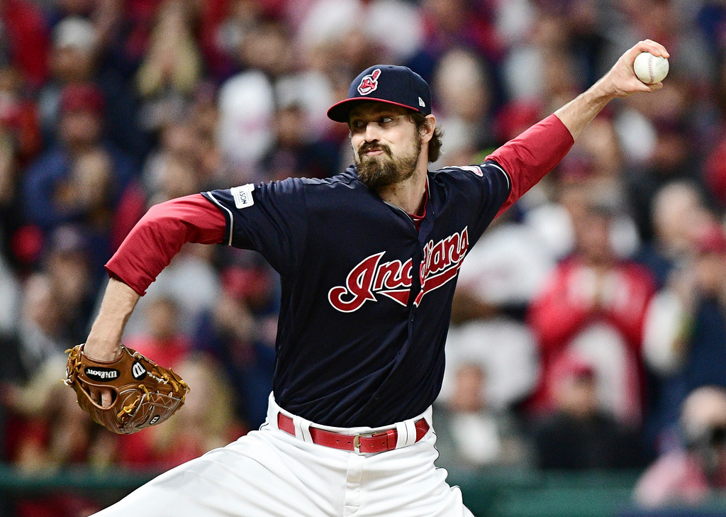 . Reliever Andrew Miller: Knee problems last season limited Miller to 11 appearances after Aug. 2, but he was healthy by the time the postseason arrived. He gave up six earned runs in six innings this spring, but the Indians don�t seem overly concerned because pitchers don�t perfect their breaking pitches in spring training. Miller�s best pitch is his slider. The bullpen has been an Indians� strength, and Miller is obviously a huge part of that success. Batters hit just .144 off him last season. He appeared in 57 games and held opponents scoreless 49 times. (AP Photo/David Dermer)