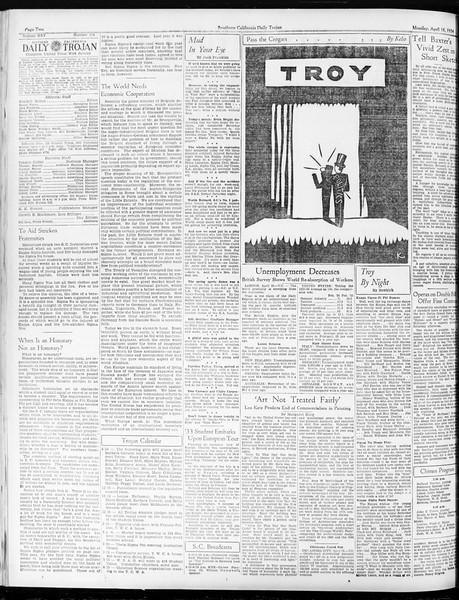 Daily Trojan, Vol. 25, No. 114, April 16, 1934