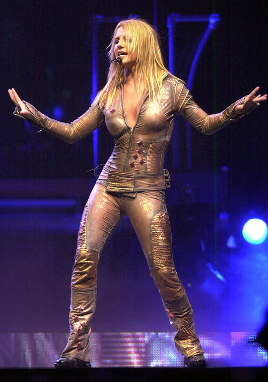 . Britney Spears performs Tuesday, June 4, 2002 in Los Angeles. (AP Photo/Krista Niles)