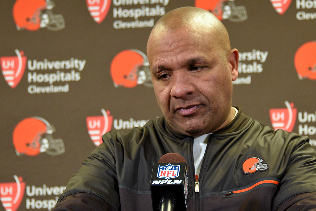 . Cleveland Browns head coach Hue Jackson during a press conference following an NFL football game against the Pittsburgh Steelers on Sunday, Jan. 1, 2017, in Pittsburgh . Pittsburgh won 27-24.(AP Photo/Don Wright)