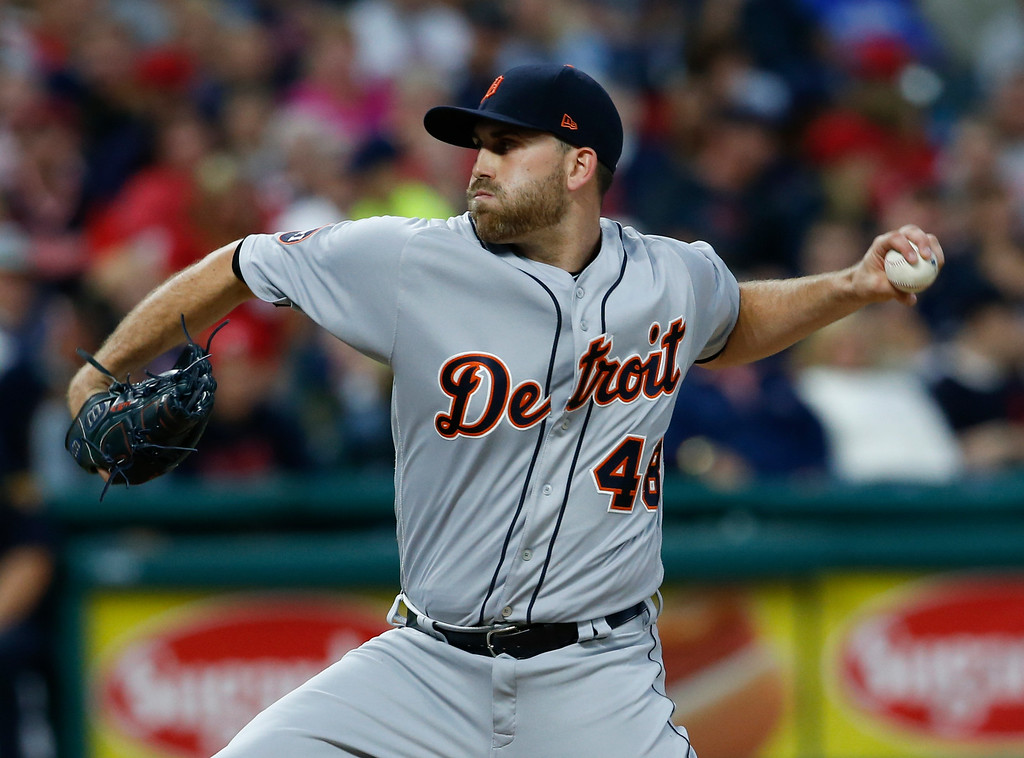 . Detroit Tigers starting pitcher Matthew Boyd delivers against the Cleveland Indians during the second inning in a baseball game, Tuesday, Sept. 12, 2017, in Cleveland. (AP Photo/Ron Schwane)