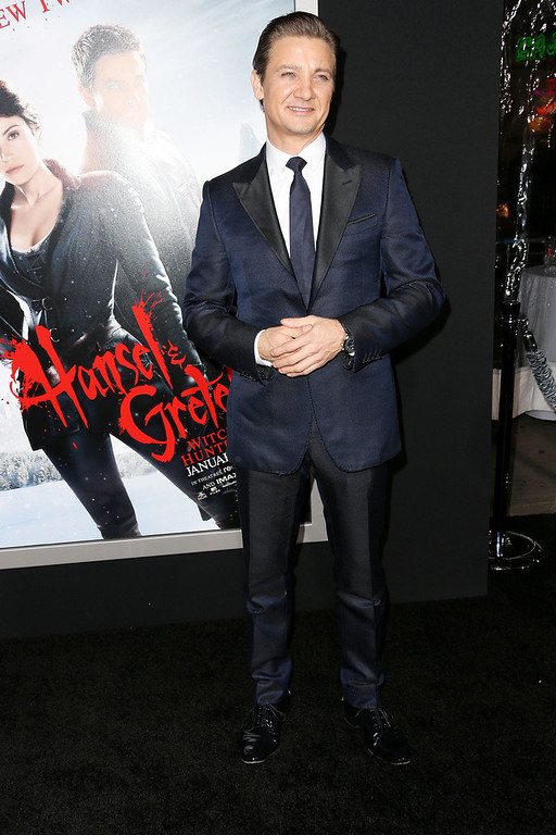 ". Actor Jeremy Renner attends the Premiere Of Paramount Pictures\' ""Hansel And Gretel Witch Hunters\"" at the TCL Chinese Theatre on January 24, 2013 in Hollywood, California.  (Photo by Frederick M. Brown/Getty Images)"
