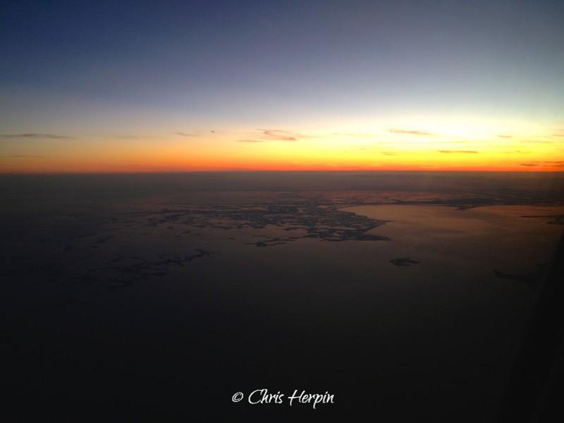 Sunset over Gulf Coast of Louisiana.