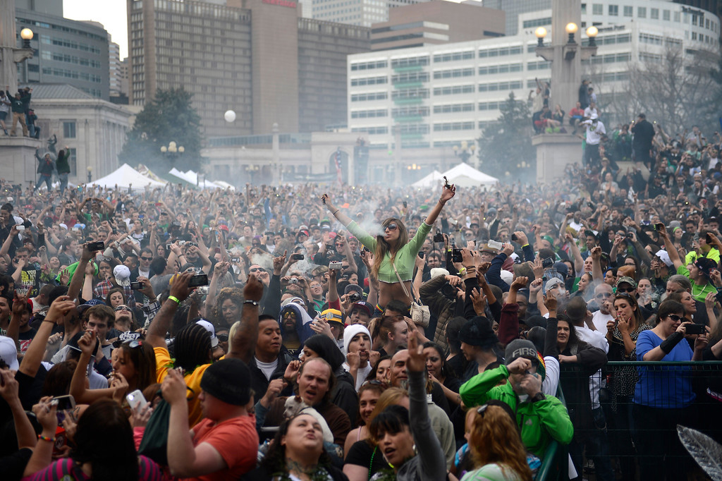 . The 4:20 pm smoke out during the annual 420 Rally at Civic Center Park in downtown Denver April 20, 2013 Denver, Colorado. (Photo By Joe Amon/The Denver Post)