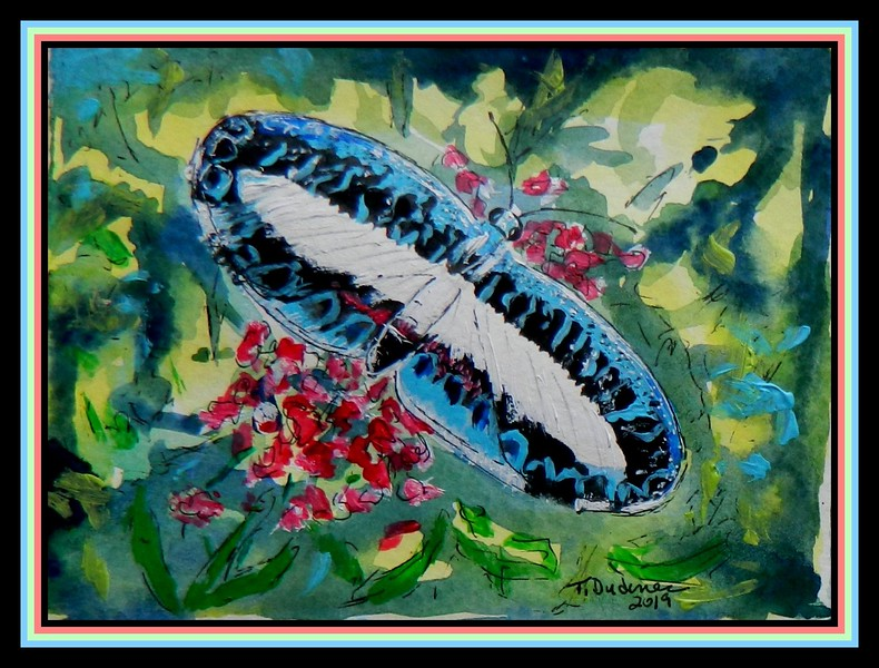 Mantus Metalmark, Ariconias albinus - Panama. 4.5x6, watercolor, acrylic & ink, jan 16, 2019