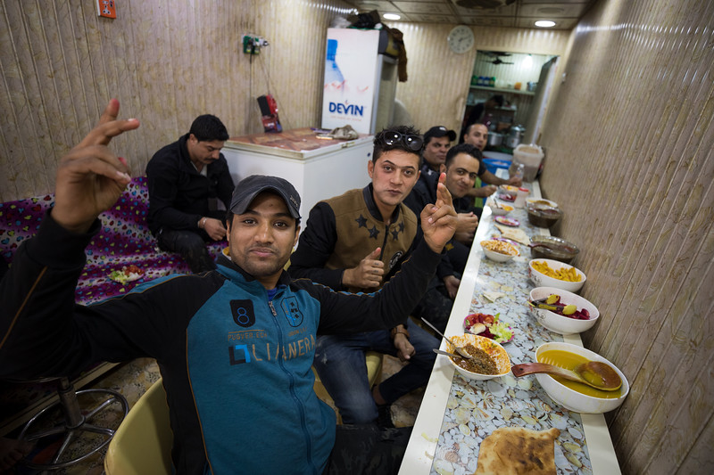 Diners at a restaurant in the town of Salman Pak, Baghdad Governate.