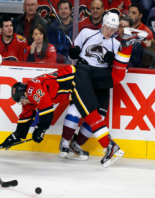 . Calgary Flames\' Lee Stempniak (L) goes flying after being hit by Colorado Avalanche\' Jamie McGinn during the third period of their NHL hockey game in Calgary, Alberta, January 31, 2013. REUTERS/Todd Korol