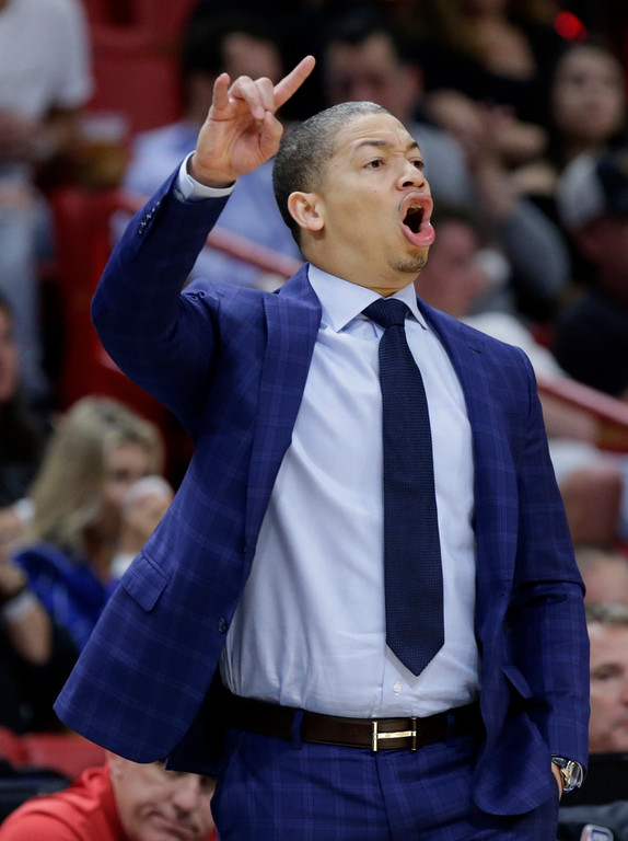. Cleveland Cavaliers head coach Tyronn Lue watches the action during the first half of an NBA basketball game against the Miami Heat, Saturday, March 4, 2017, in Miami. (AP Photo/Lynne Sladky)
