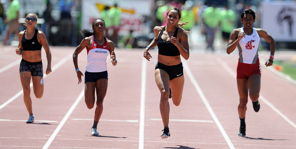 . Carol Rodriguez, second from right, wins the 400 meter dash Invite Elite during the Mt. SAC Relays in Hilmer Lodge Stadium on the campus of Mt. San Antonio College on Saturday, April 20, 2012 in Walnut, Calif.    (Keith Birmingham/Pasadena Star-News)
