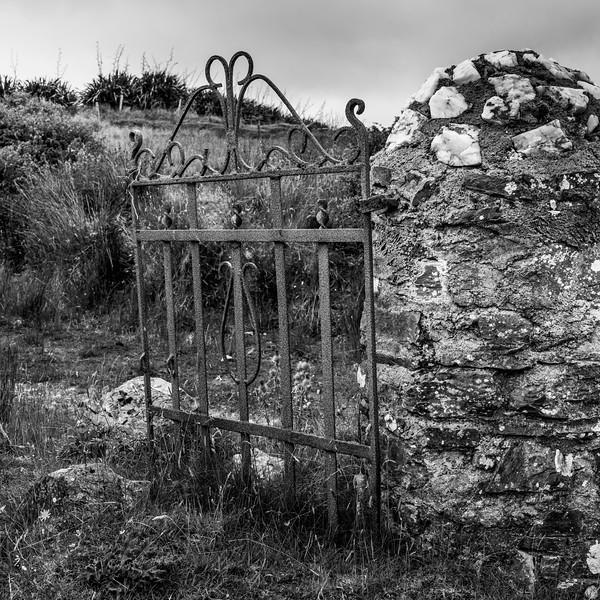 Metal gate of abandoned building, Glenamoy, County Mayo, Ireland