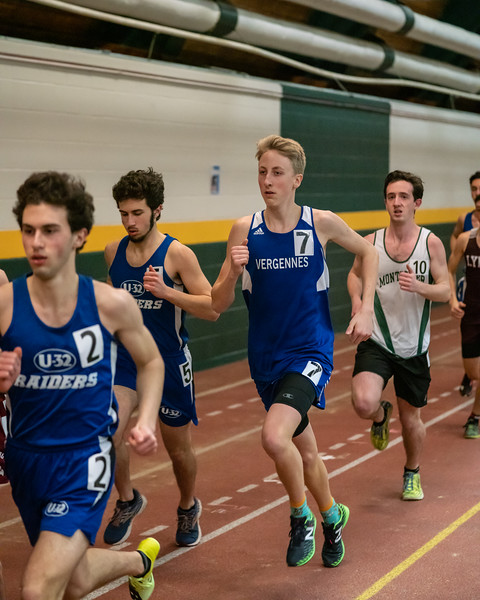Junior Gabe Praamsma running in the 1500. Gabe placed 7th with a time of 4:44.40.  Vermont Division II Indoor Track State Championships - UVM Gutterson Field House - 2/16/2020