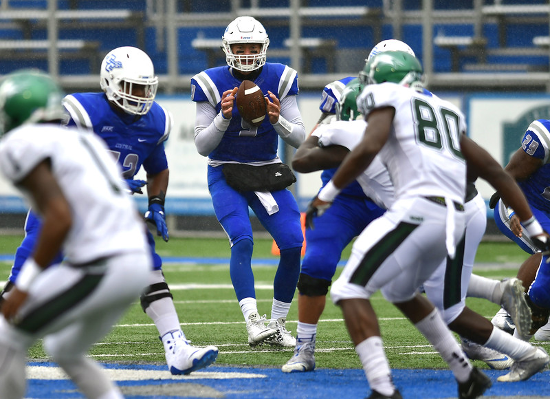10/27/2018 Mike Orazzi   Staff CCSU's Jacob Dolegala (9) during Saturdays' football game in New Britain with Wagner.