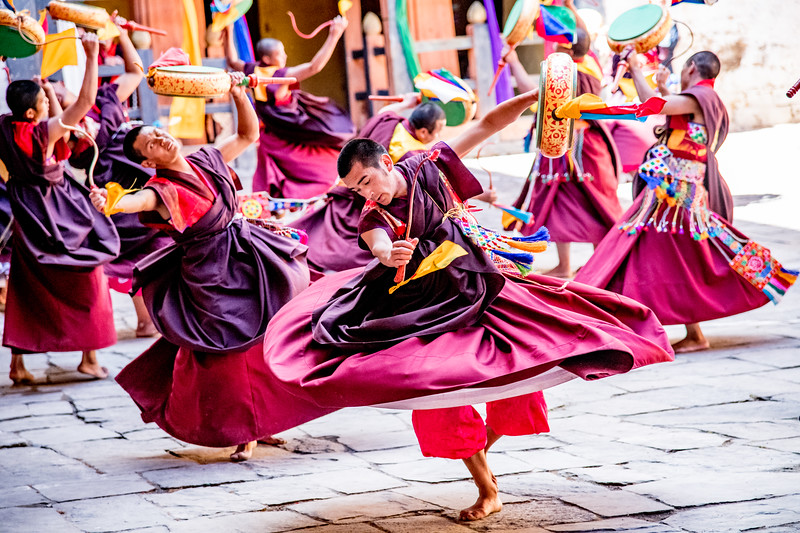 Buddhist Festival, Jakar Dzong, Bumtang, Bhutan, October 2018