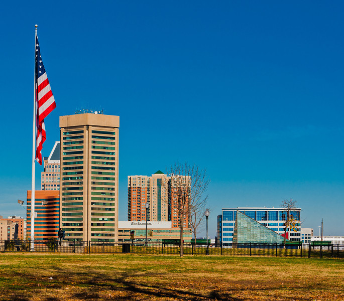 American flag and the Baltimore skyline, seen from Federal Hill Park, Baltimore, Maryland.