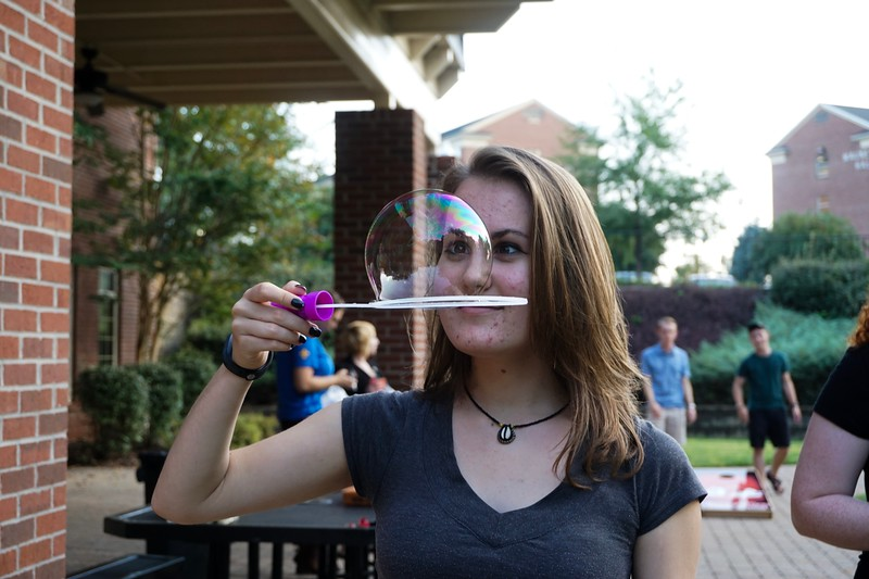 Haddie Winters never played with bubbles before! A first time for everything.