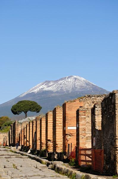 Via Stabiana with Mt Vesuvius, Pompeii (Italy)