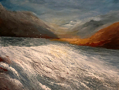 """Start of a Waterfall"" (acrylic) by Pamela Dey"