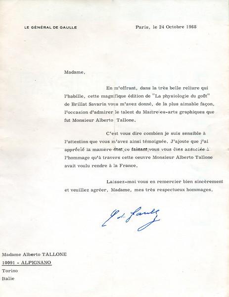 Charles De Gaulle to Alberto Tallone