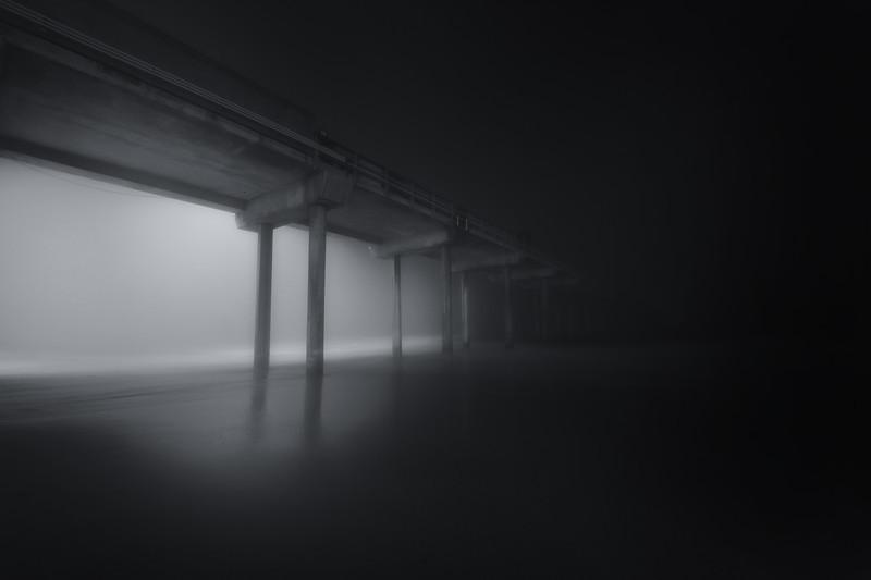 Black and White Foggy Night in La Jolla California