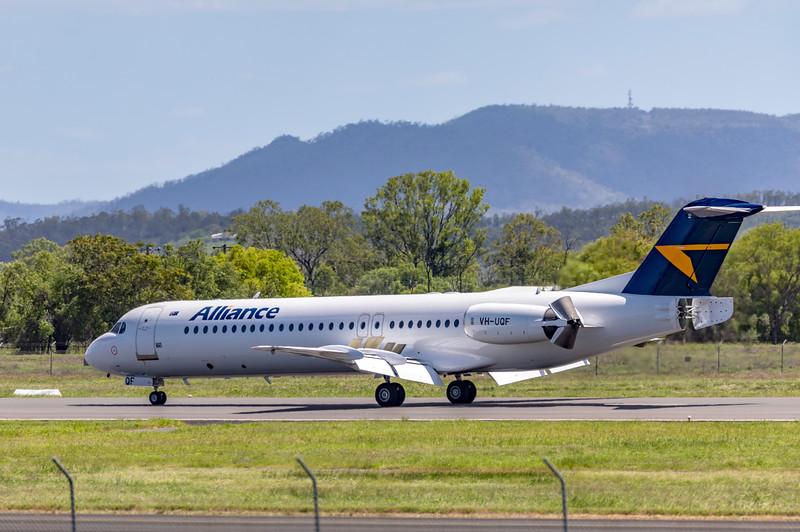 Alliance Airlines Fokker F100 VH-UQF landing at Rockhampton Airport