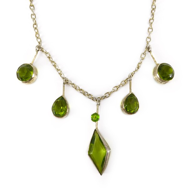 Antique Edwardian Peridot Glass Drop Necklace