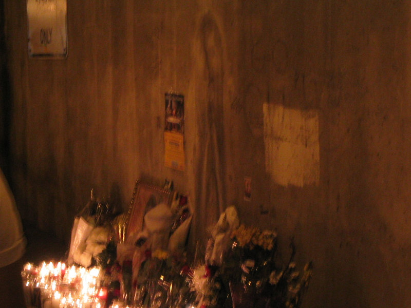 So... The Virgin Mary decided to stop by Chicago... She was here for a while.. Then the DOT had enough and power washed her off... I imagine they're gonna burn in hell... Still a bunch of candles and stuff by her smudge..
