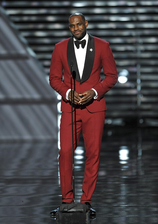. LeBron James presents the Arthur Ashe courage award at the ESPY Awards on Wednesday, July 17, 2013, at Nokia Theater in Los Angeles. (Photo by John Shearer/Invision/AP)