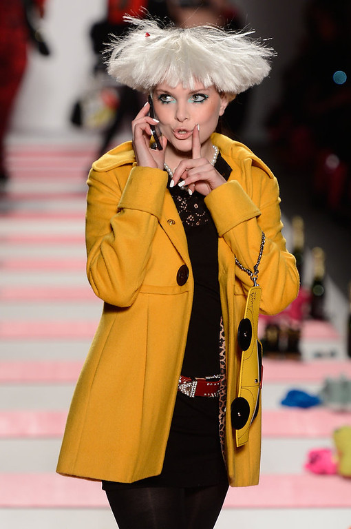. A model walks the runway at the Betsey Johnson Fall 2013 fashion show during Mercedes-Benz Fashion Week at The Studio at Lincoln Center on February 11, 2013 in New York City.  (Photo by Frazer Harrison/Getty Images for Mercedes-Benz Fashion Week)