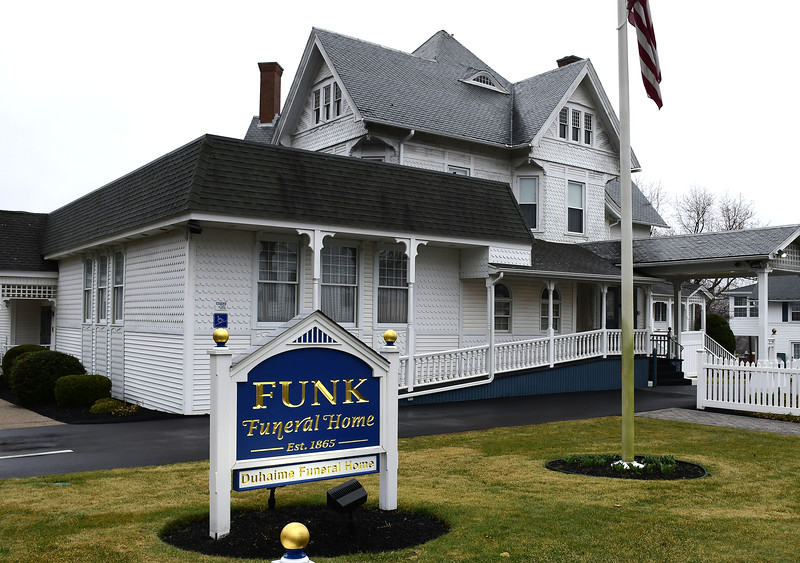 3/19/2020 Mike Orazzi | Staff Funk Funeral Home in Bristol on Thursday.