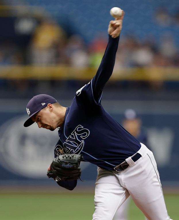 . Tampa Bay Rays\' Blake Snell delivers to the Cleveland Indians during the first inning of a baseball game Wednesday, Sept. 12, 2018, in St. Petersburg, Fla. (AP Photo/Chris O\'Meara)