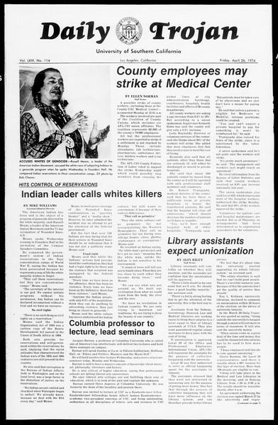 Daily Trojan, Vol. 66, No. 114, April 26, 1974